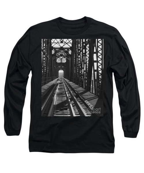 Long Sleeve T-Shirt featuring the photograph Red River Train Bridge #3 by Robert ONeil