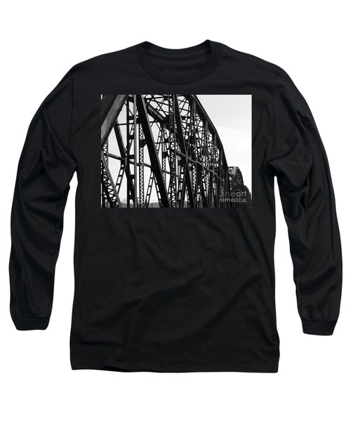 Long Sleeve T-Shirt featuring the photograph Red River Train Bridge #4 by Robert ONeil