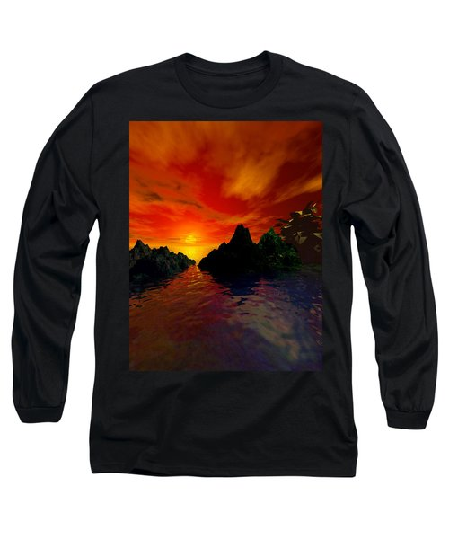Long Sleeve T-Shirt featuring the digital art Red Sky by Kim Prowse