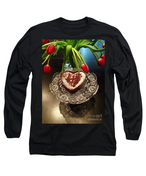 Red Tulip And Chocolate Heart Dessert Long Sleeve T-Shirt