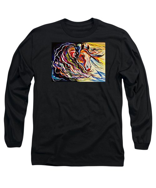 Red Wind Wild Horse Long Sleeve T-Shirt by Janice Rae Pariza
