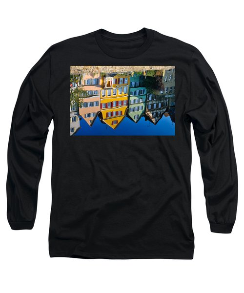 Reflection Of Colorful Houses In Neckar River Tuebingen Germany Long Sleeve T-Shirt