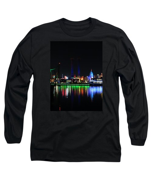 Reflections At Night Long Sleeve T-Shirt by Kathy Long