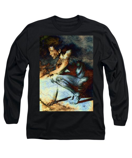 Resting Drawing With Texture Long Sleeve T-Shirt