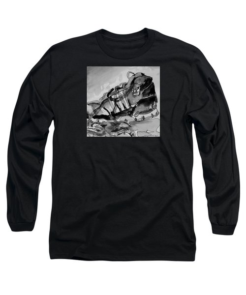 Long Sleeve T-Shirt featuring the painting Retro Adidas by Jeffrey S Perrine