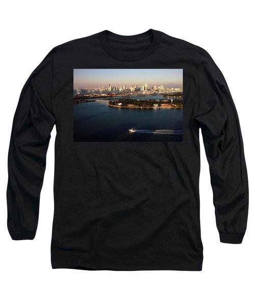 Retro Style Miami Skyline Sunrise And Biscayne Bay Long Sleeve T-Shirt