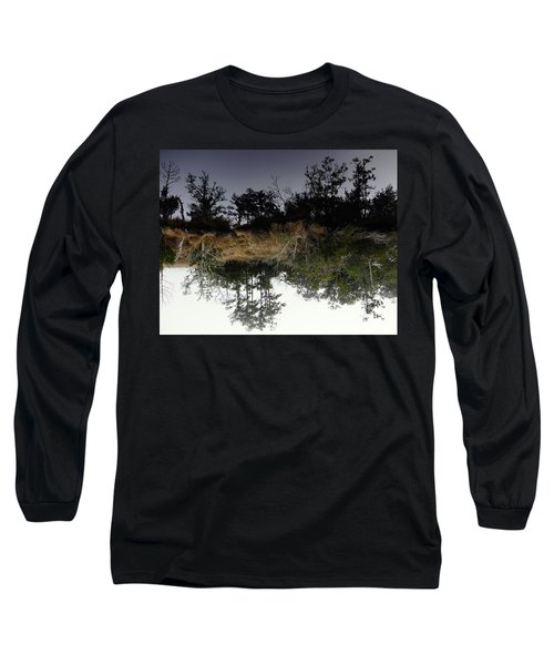 Reverse Reflection On A Crab Fishermans Canal Long Sleeve T-Shirt by Richard Rosenshein