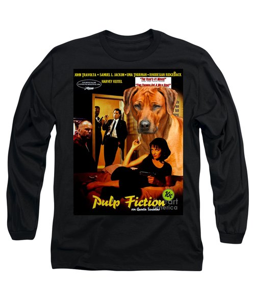 Rhodesian Ridgeback Art Canvas Print - Pulp Fiction Movie Poster Long Sleeve T-Shirt