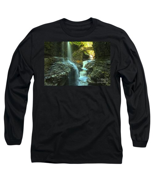 Rainbow Falls Watkins Glen Long Sleeve T-Shirt by Adam Jewell