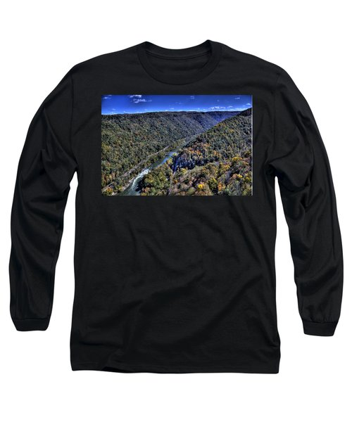 Long Sleeve T-Shirt featuring the photograph River Through The Hills by Jonny D