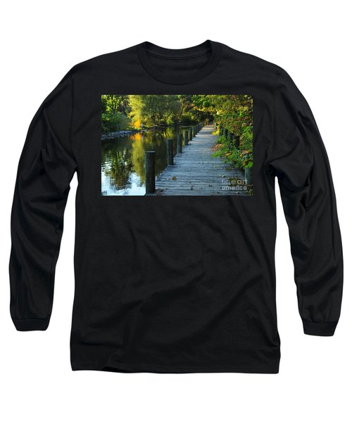 River Walk In Traverse City Michigan Long Sleeve T-Shirt by Terri Gostola