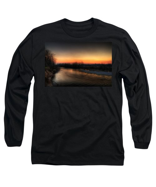 Riverscape At Sunset Long Sleeve T-Shirt