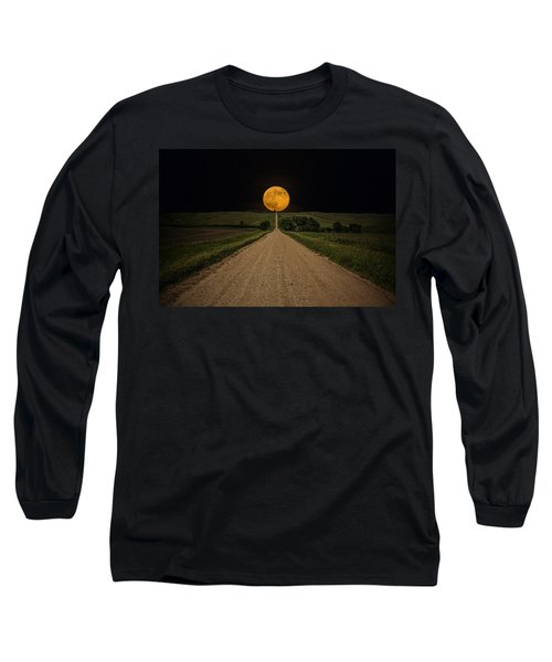 Road To Nowhere - Supermoon Long Sleeve T-Shirt by Aaron J Groen