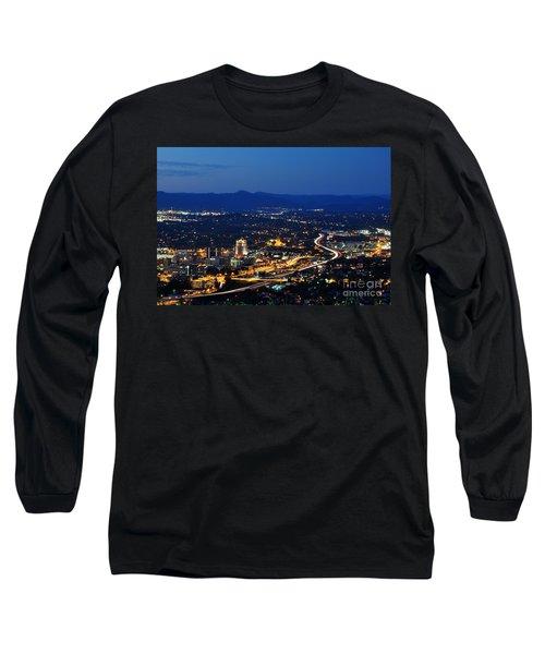 Roanoke City As Seen From Mill Mountain Star At Dusk In Virginia Long Sleeve T-Shirt by Paul Fearn