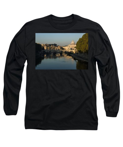 Rome - Iconic View Of Saint Peter's Basilica Reflecting In Tiber River Long Sleeve T-Shirt