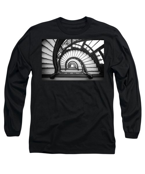 Rookery Building Oriel Staircase - Black And White Long Sleeve T-Shirt