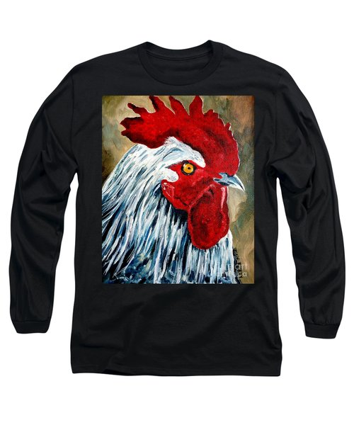 Long Sleeve T-Shirt featuring the painting Rooster Doodle by Julie Brugh Riffey