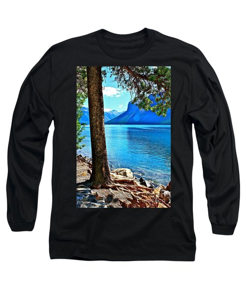 Rooted In Lake Minnewanka Long Sleeve T-Shirt by Linda Bianic
