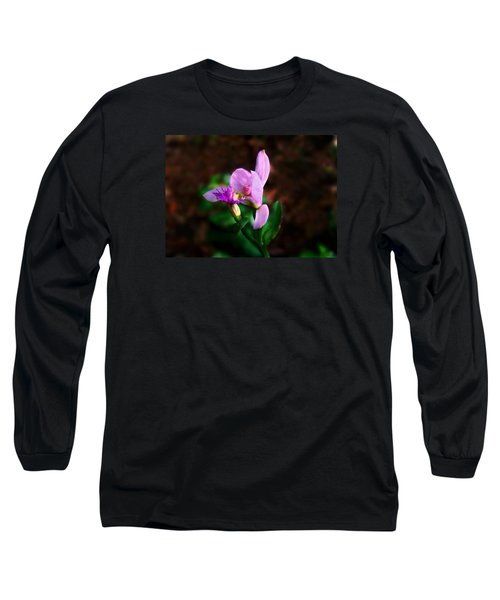 Rose Pogonia Orchid Long Sleeve T-Shirt by William Tanneberger