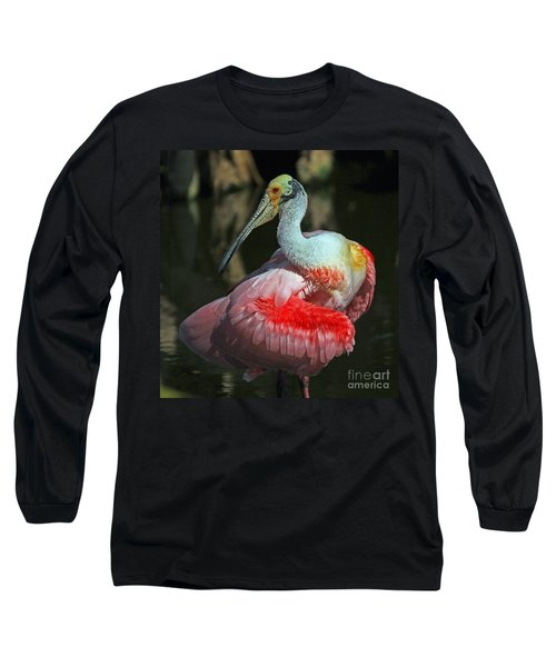 Roseate Preening Long Sleeve T-Shirt by Larry Nieland