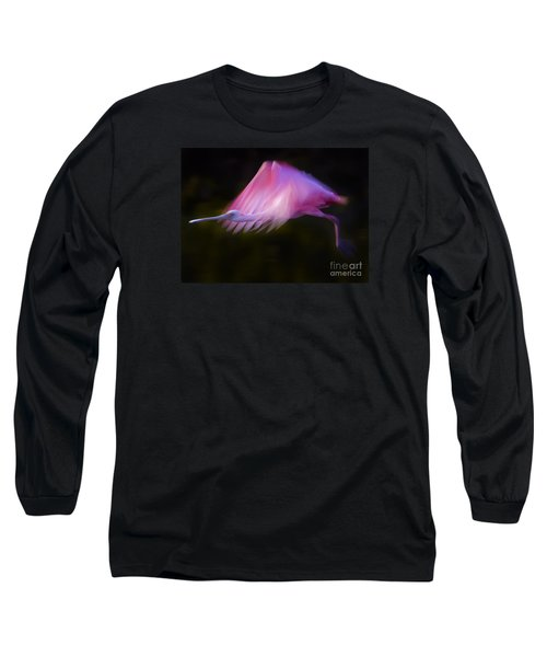 Roseate Spoonbill     #6205 Long Sleeve T-Shirt by J L Woody Wooden
