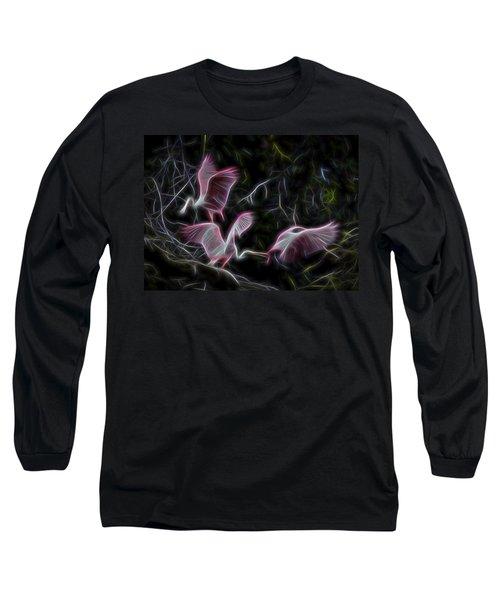 Roseate Spoonbills 1 Long Sleeve T-Shirt by William Horden