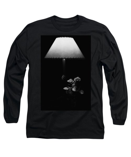 Long Sleeve T-Shirt featuring the photograph Roses By Lamplight Bw by Ron White