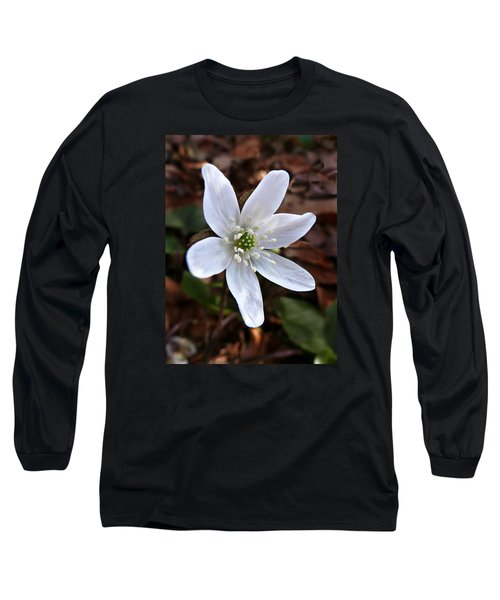 Wild Round-lobe Hepatica Long Sleeve T-Shirt by William Tanneberger