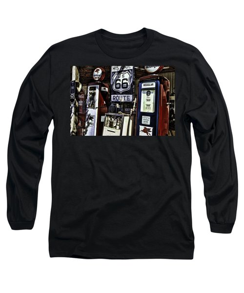 Long Sleeve T-Shirt featuring the painting Route 66 by Muhie Kanawati