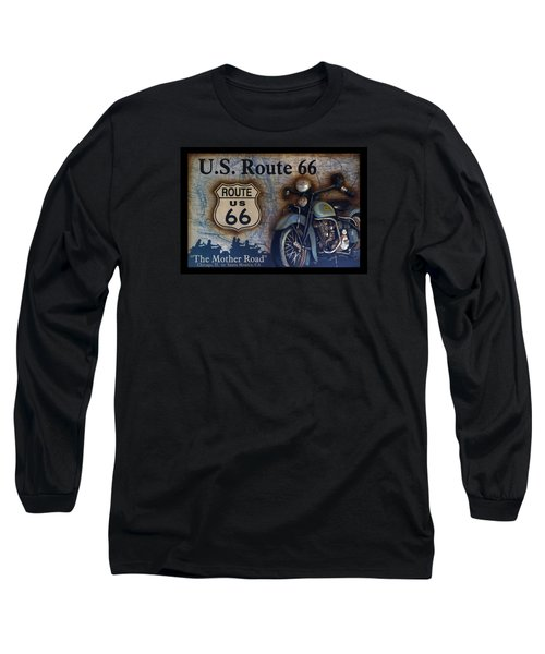 Route 66 Odell Il Gas Station Motorcycle Signage Long Sleeve T-Shirt by Thomas Woolworth