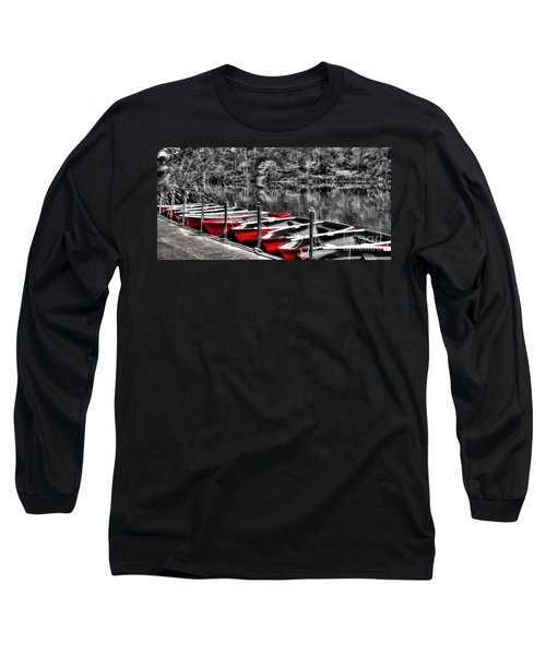 Row Of Red Rowing Boats Long Sleeve T-Shirt