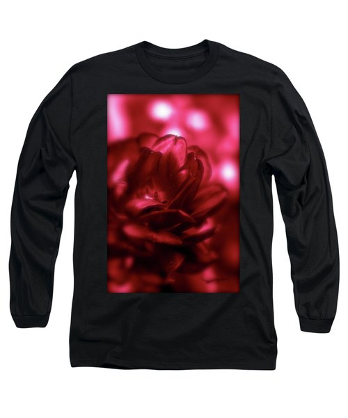 Ruby Red  Dahlia With Bokeh Long Sleeve T-Shirt