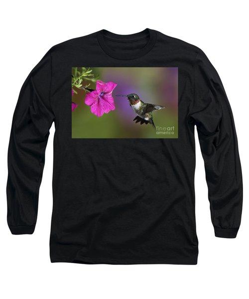 Ruby-throated Hummingbird - D004190 Long Sleeve T-Shirt by Daniel Dempster