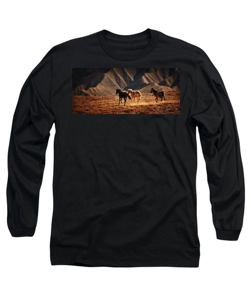 Long Sleeve T-Shirt featuring the photograph Running Free by Priscilla Burgers