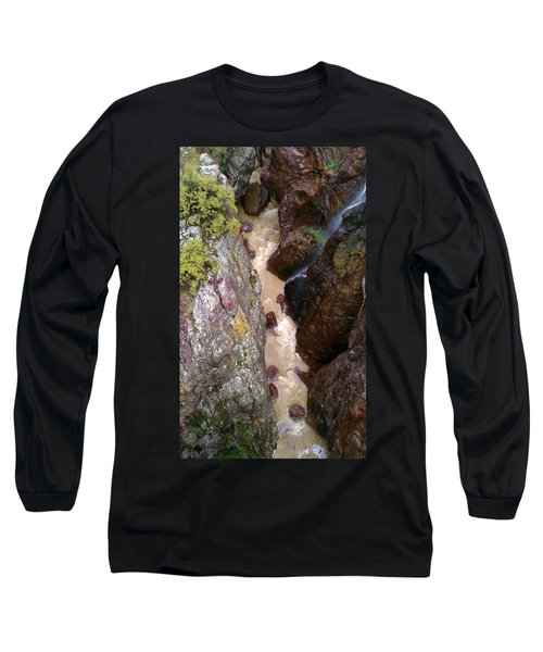 Long Sleeve T-Shirt featuring the photograph Rushing Crevasse by Fortunate Findings Shirley Dickerson