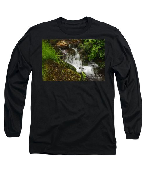Rushing Mountain Stream And Moss Long Sleeve T-Shirt