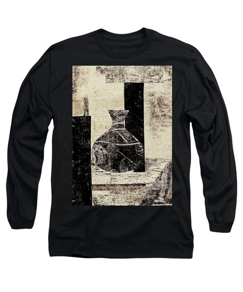 Long Sleeve T-Shirt featuring the painting Rustic Vase Black And White by Patricia Cleasby