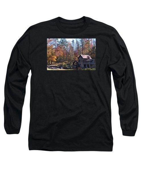 Rustic Water Mill In Autumn Long Sleeve T-Shirt by William Tanneberger
