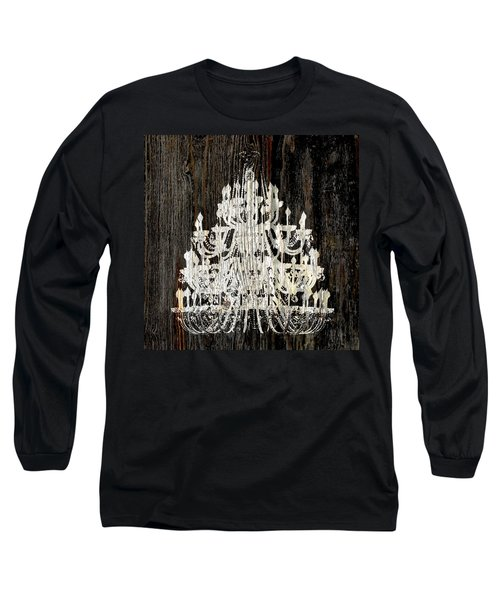 Rustic Shabby Chic White Chandelier On Wood Long Sleeve T-Shirt by Suzanne Powers