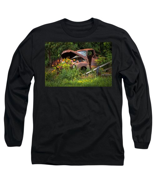 Long Sleeve T-Shirt featuring the photograph Rusty Truck Flower Bed - Charming Rustic Country by Gary Heller