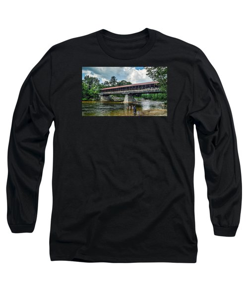 Long Sleeve T-Shirt featuring the photograph Saco River Covered Bridge  by Debbie Green