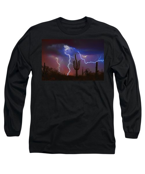 Saguaro Lightning Nature Fine Art Photograph Long Sleeve T-Shirt