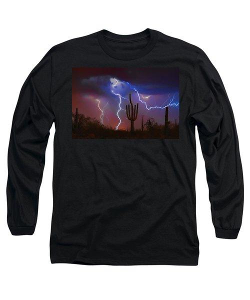 Saguaro Lightning Nature Fine Art Photograph Long Sleeve T-Shirt