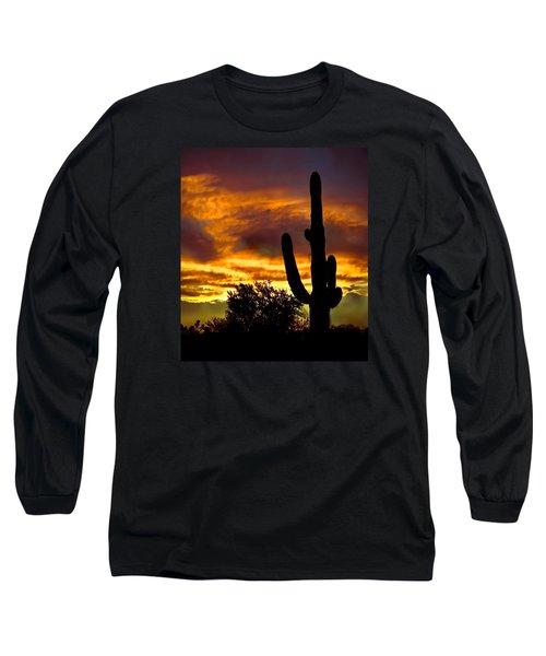 Saguaro Silhouette  Long Sleeve T-Shirt by Robert Bales