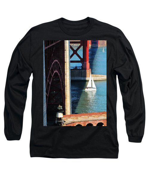 Sail Boat Passes Beneath The Golden Gate Bridge Long Sleeve T-Shirt