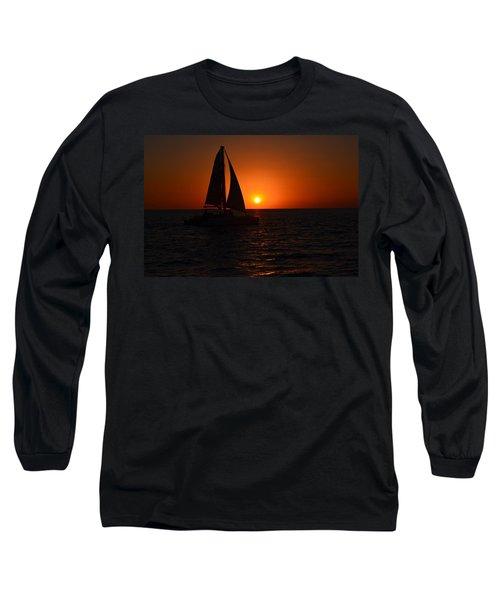 Sailboat Sunset Long Sleeve T-Shirt by James Petersen