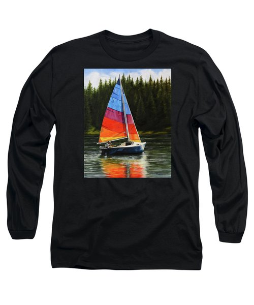 Sailing On Flathead Long Sleeve T-Shirt by Kim Lockman