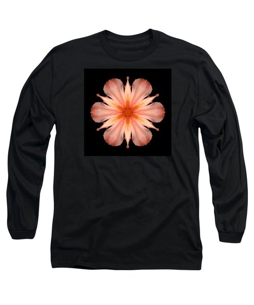 Salmon Daylily I Flower Mandala Long Sleeve T-Shirt by David J Bookbinder