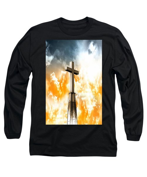 Long Sleeve T-Shirt featuring the mixed media Salvation From Heaven by Aaron Berg