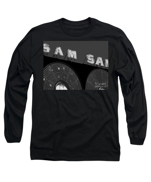 Sam The Record Man At Night Long Sleeve T-Shirt by Nina Silver